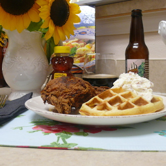 Chicken and Waffles with Bacon, Maple Whipped Cream – A Staple in the South