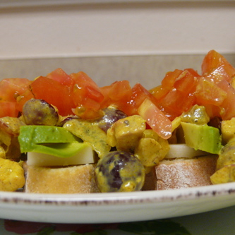 Curried Chicken Salad with Avocado on Crostini
