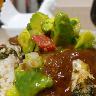 Baked Chile Rellenos with a Mole Sauce – A healthier option to a Mexican favorite.