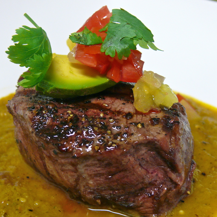 Filet Mignon with Roasted Garlic and Tomatillo Green Chile Sauce