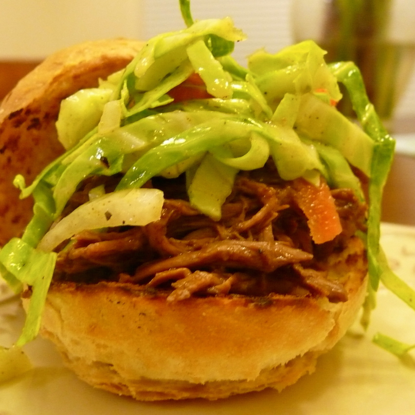 Mole Pulled Lamb Sandwiches with Spicy Slaw