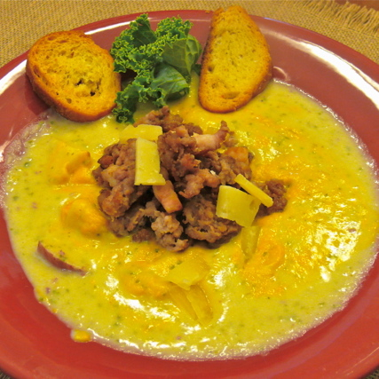 Hearty and Healthy Cream of Leek and Potato Soup with Caramelized Carrot Puree and Italian Sausage and Pancetta