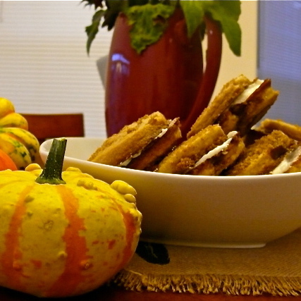 Pumpkin Pinwheel Cookie Sandwiches