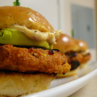 Grilled Sweet Potato Sliders with Avocado and a Roasted Garlic, Chipotle Aioli