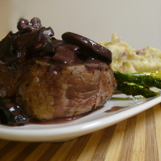 Filet with a Port-Mushroom Sauce, Grilled Asparagus, and Rustic Garlic Mashed Potatoes