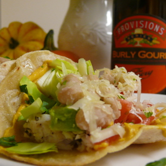 Fish Tacos with Pumpkin Aioli