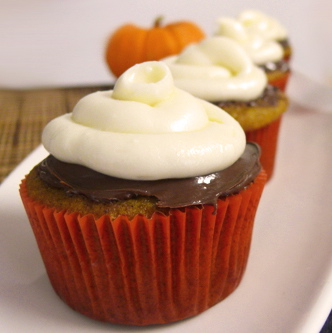 Pumpkin, Nutella Cupcakes with Cream Cheese Frosting