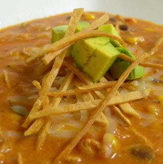 Chicken Enchilada Soup with Avocado and Tortilla Strips