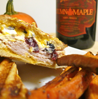 Thanksgiving in a Sandwich – Goat Cheese and Turkey Panini with Pumpkin Aioli and Served with Baked Sweet Potato Fries