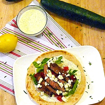 Traditional Greek Gyros made Untraditional with Cucumber Aioli