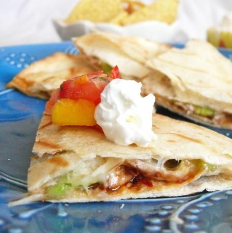 Chipotle Chicken Quesadillas … with a spicy salsa!