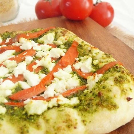 Smoked Salmon and Pesto Pizza