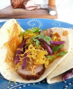 Pork Tacos with a Chipotle Aioli, Salsa Verde, and Orange-Habanero Sauce