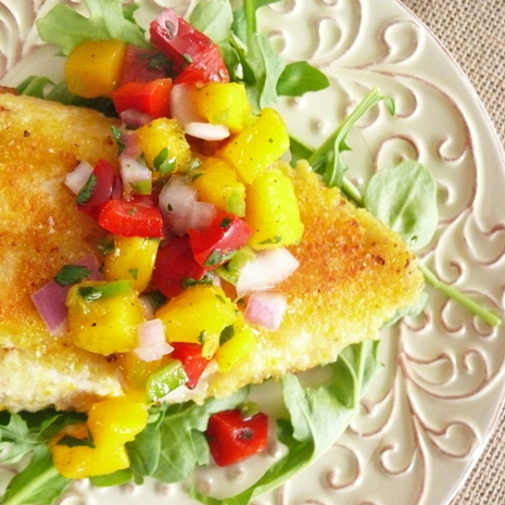 Cornmeal Crusted Catfish with Mango Salsa