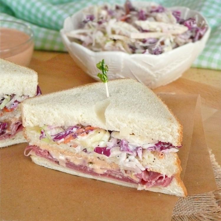 Reuben Club Sandwiches with Apple Slaw
