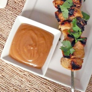 Thai Chicken Skewers with Peanut Dipping Sauce
