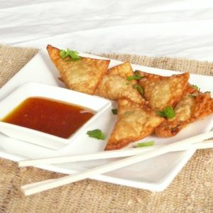 Chicken Green Chili Wontons with Mango, Habanero Sauce