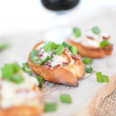 Extra Cheesy Party Crostini (with bacon)