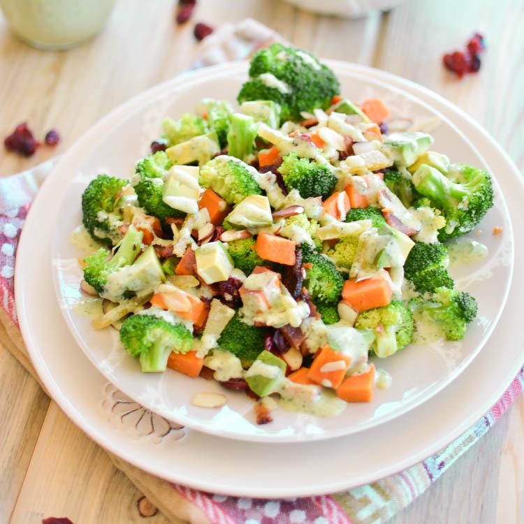Warm Broccoli Salad with Skinny Green Goddess Dressing
