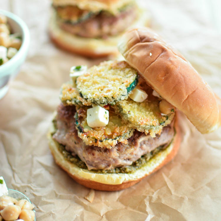 Turkey Burgers with Fried Zucchini