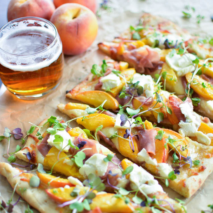 Prosciutto Flatbread with IPA-Caramelized Peaches + a Giveaway (Guest Post)
