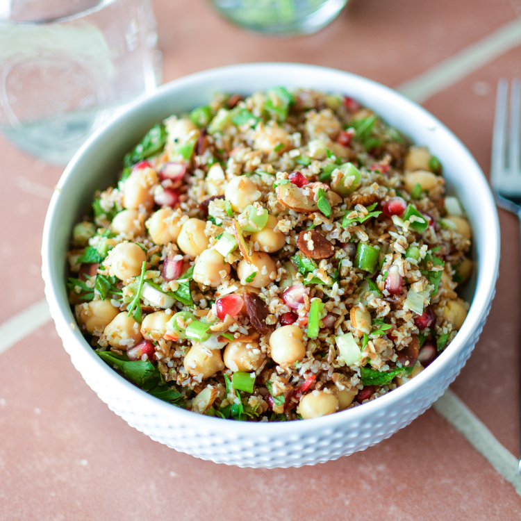 Bulgur Salad with Chickpeas, Pomegranate Seeds and Almonds + A Cookbook Giveaway!