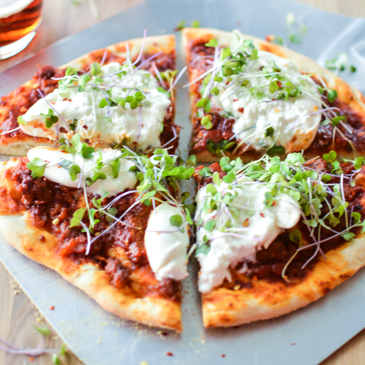 Smoky Sausage and Burrata Pizza