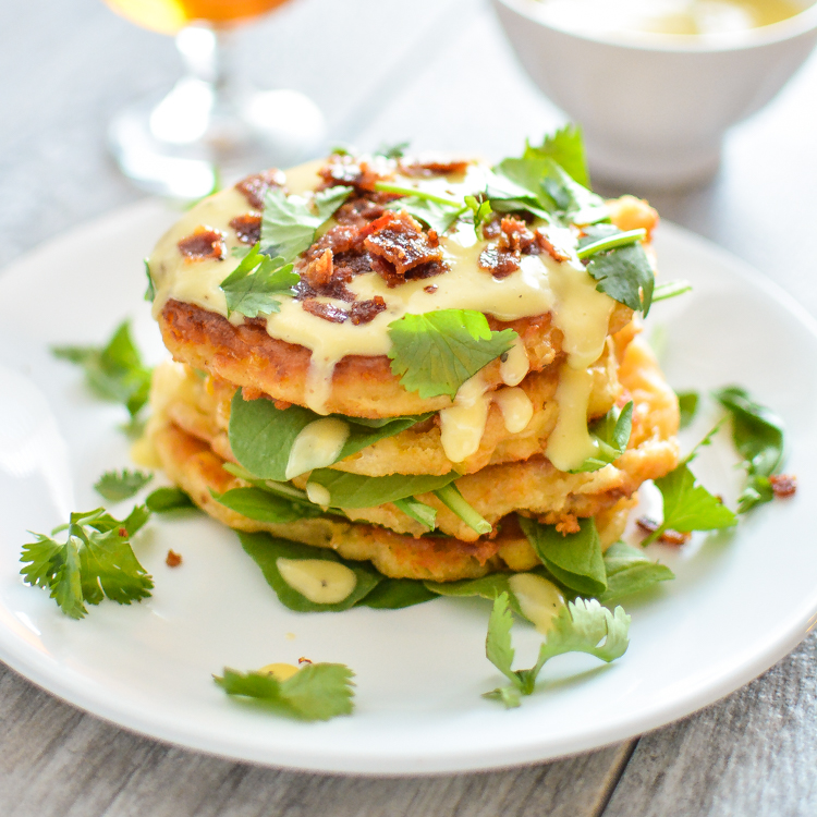 Butternut Squash Cheesy Corn Cakes with Gruyere Hollandaise