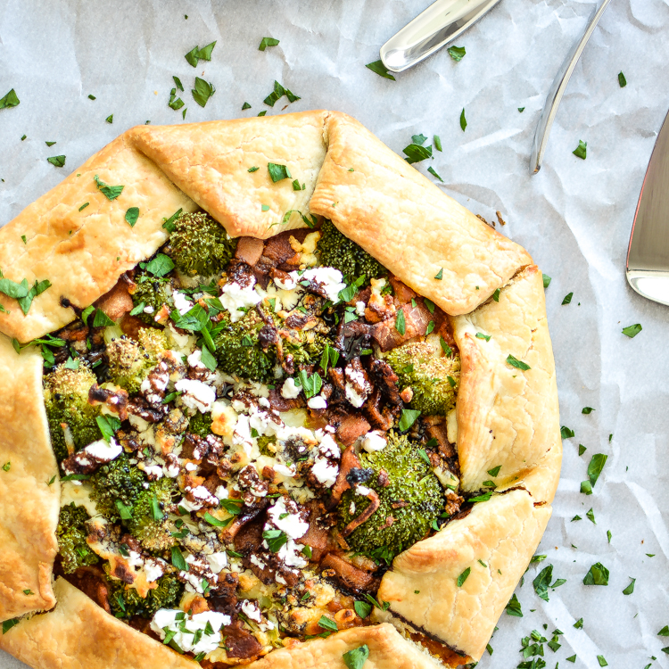 Spicy Sweet Potato Galette with Broccoli, Bacon and Balsamic Reduction
