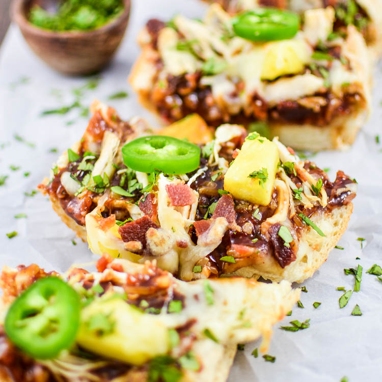 BBQ Chicken and Pineapple French Bread Pizzas