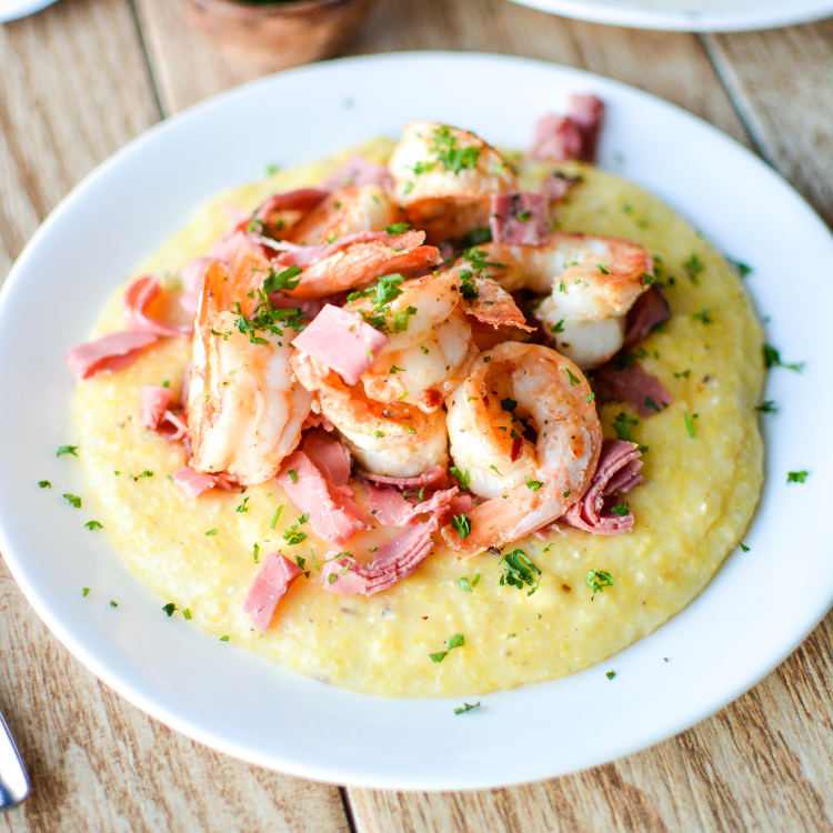 Caraway Havarti Grits with Shrimp and Corned Beef
