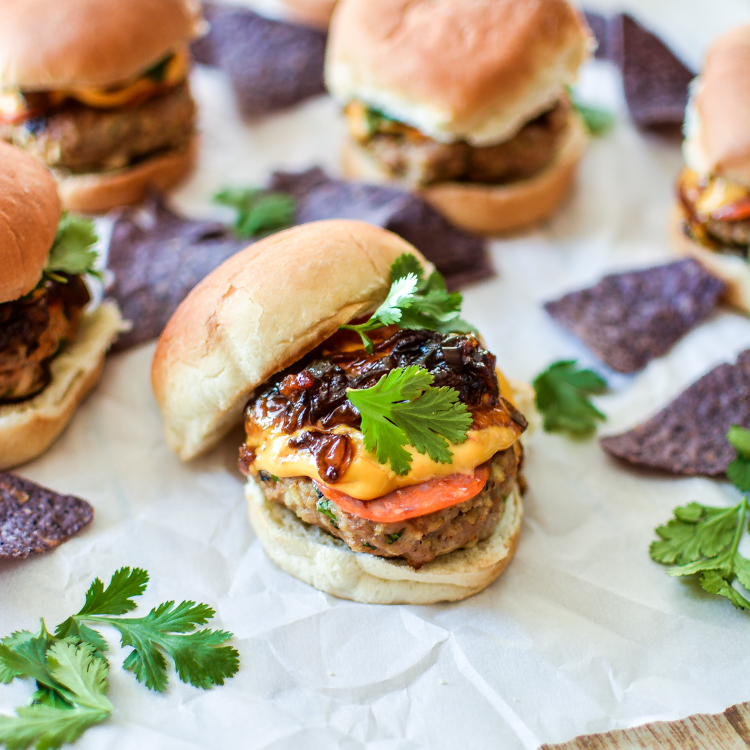 Smoky Pepperoni Turkey Sliders with Bacon Jam and Queso
