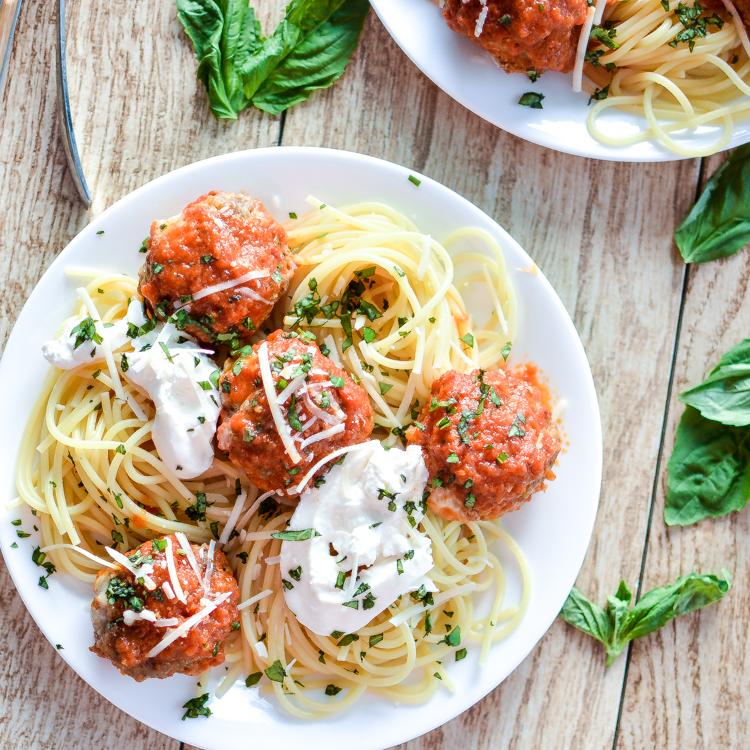 Spaghetti and Mozzarella-Stuffed Meatballs