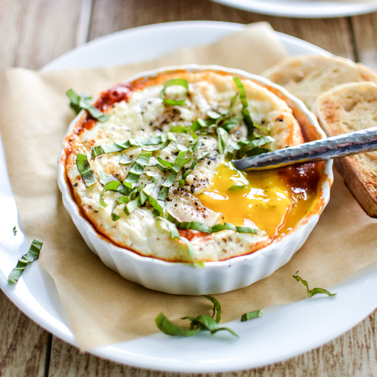 Baked Eggs and Sausage in Marinara Sauce