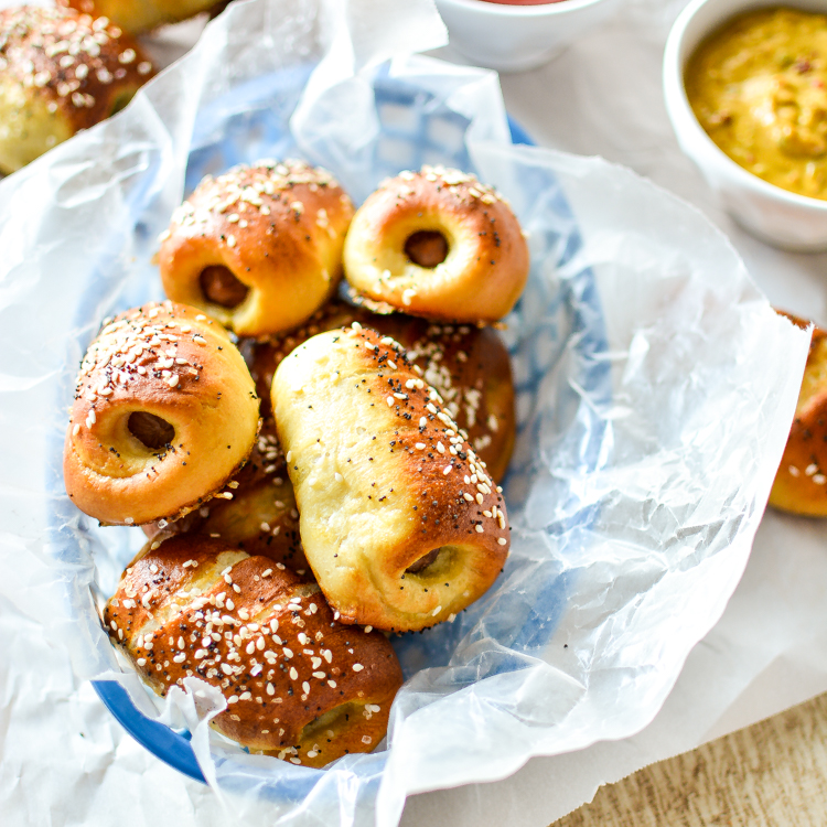 Pretzel Hot Dogs with Maple Bacon Mustard