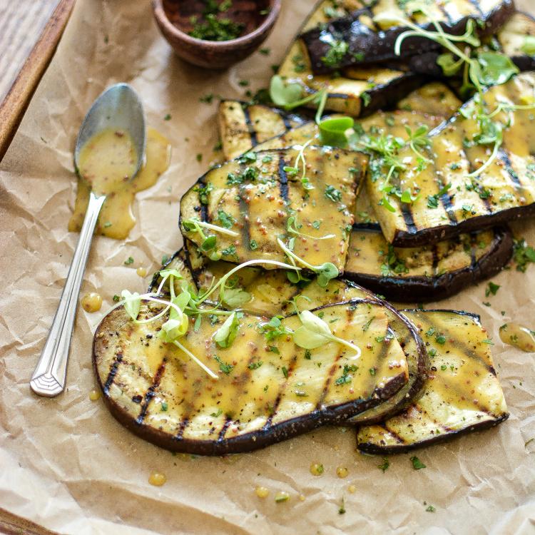 Grilled Eggplant Salad with Mustard Vinaigrette