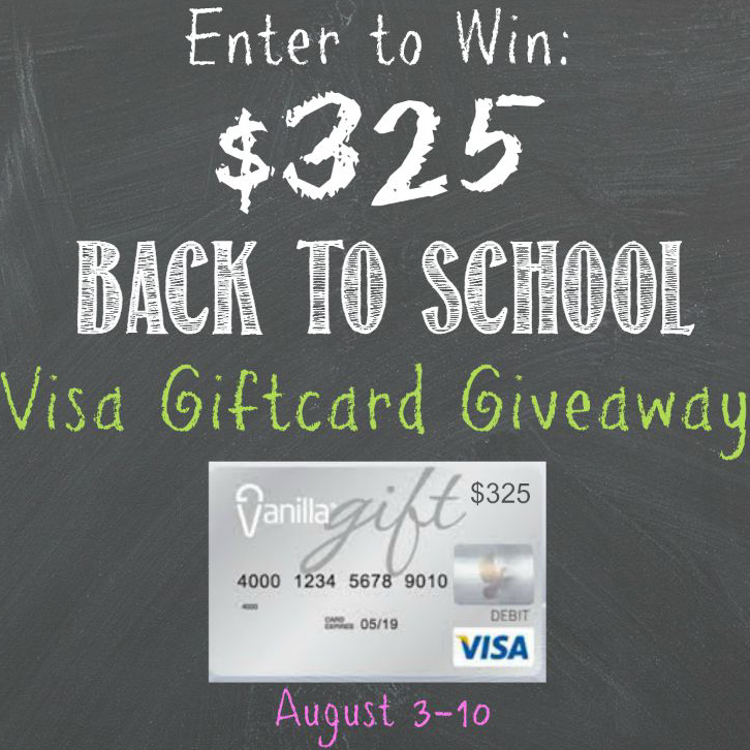 Back to School $325 Visa Gift Card Giveaway