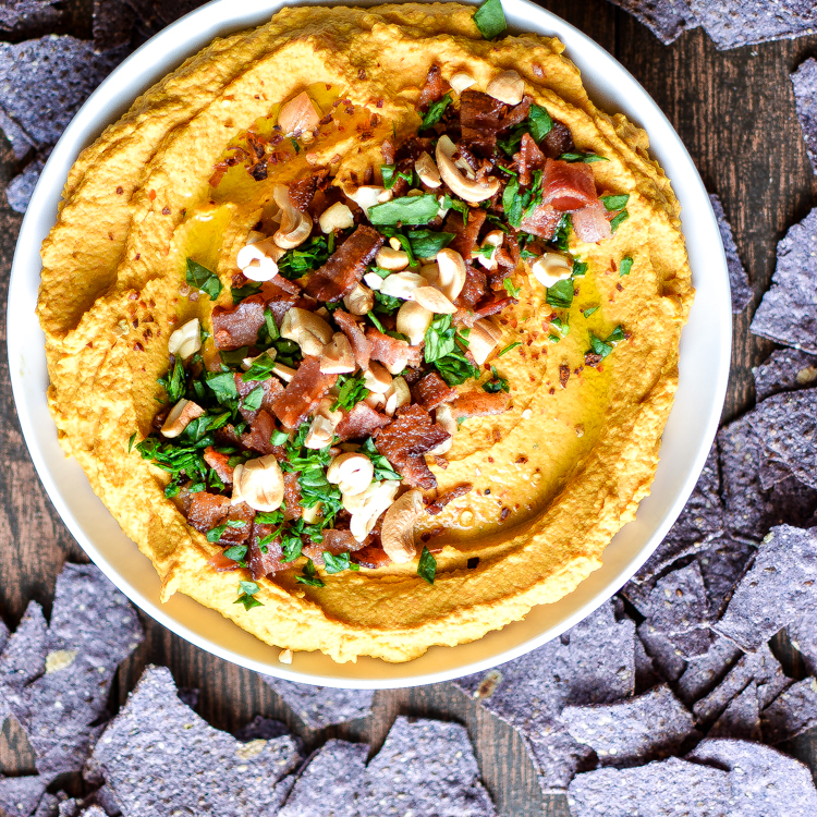 Carrot Hummus with Bacon and Cashews