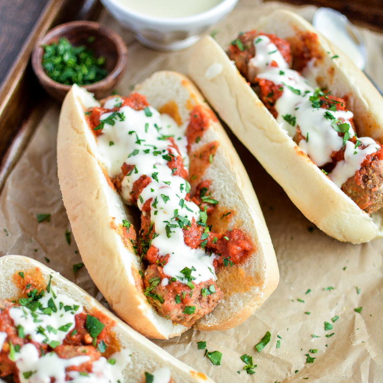 Slow Cooker Meatball Subs with Parmesan, White Cheddar Queso