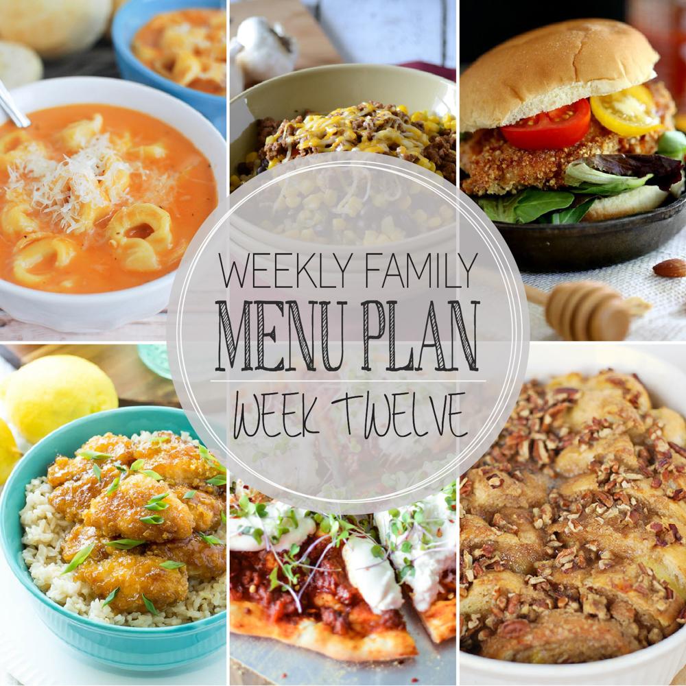 Weekly Family Menu Plan – Week Twelve