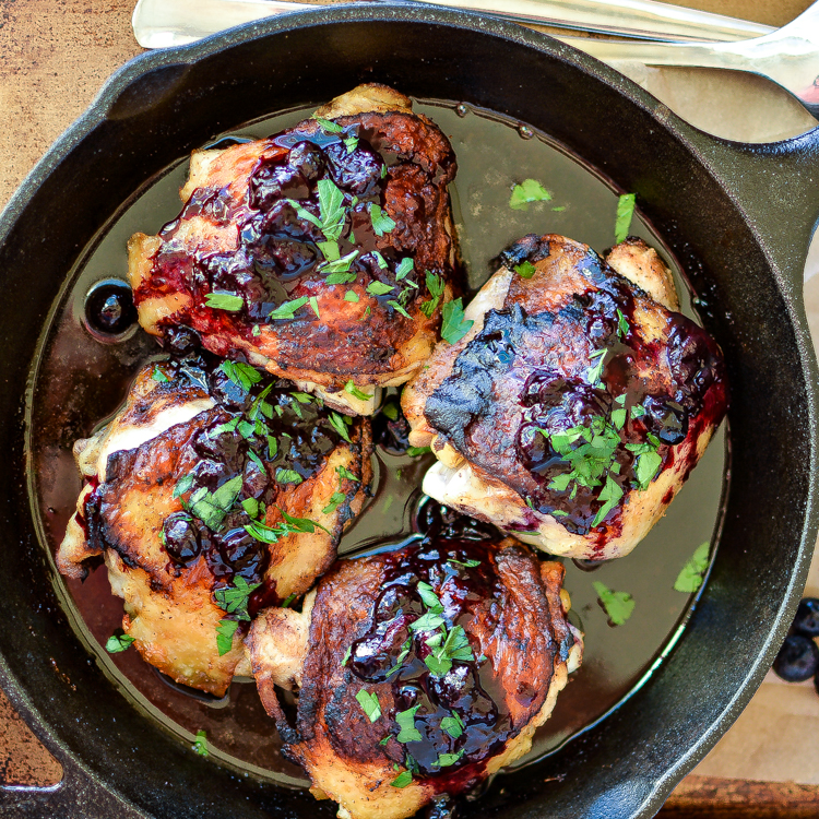 Crispy Chicken Thighs with Blueberry Sauce