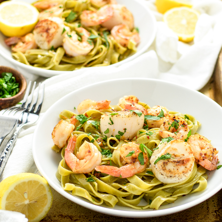 An Italian Holiday Table: Sea Scallop and Shrimp Scampi with Spinach Tagliatelle and Mascarpone and Pear Cakes