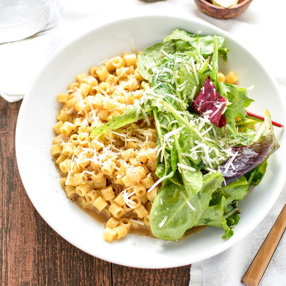 Cheesy Ditalini with Mixed Greens