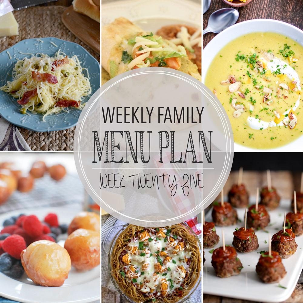 Weekly Family Menu Plan – Week Twenty-Five