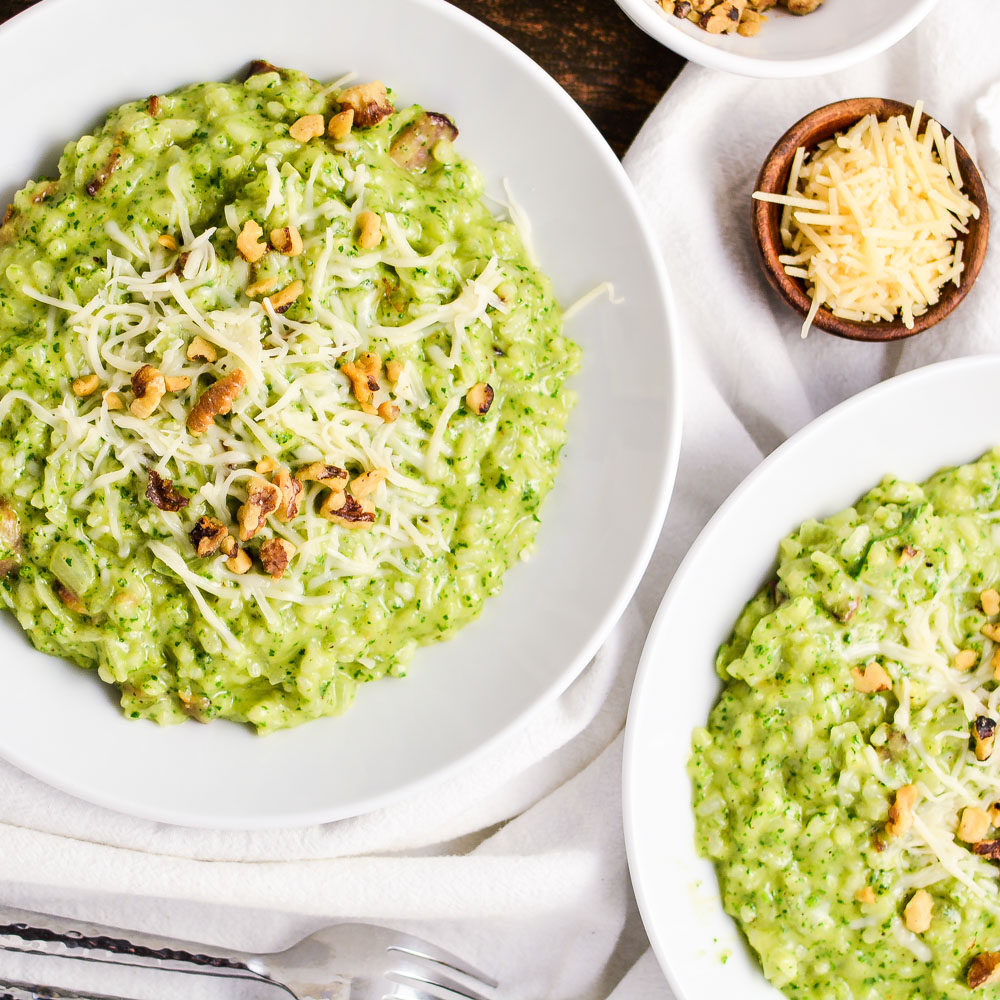 Risotto with Kale Pesto and Bacon