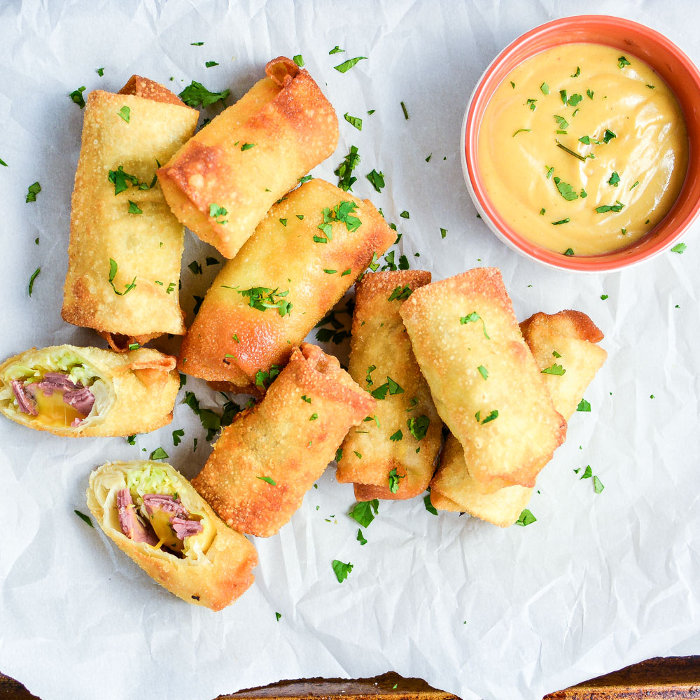 Corned Beef and Cabbage Egg Rolls with Homemade Beer Mustard
