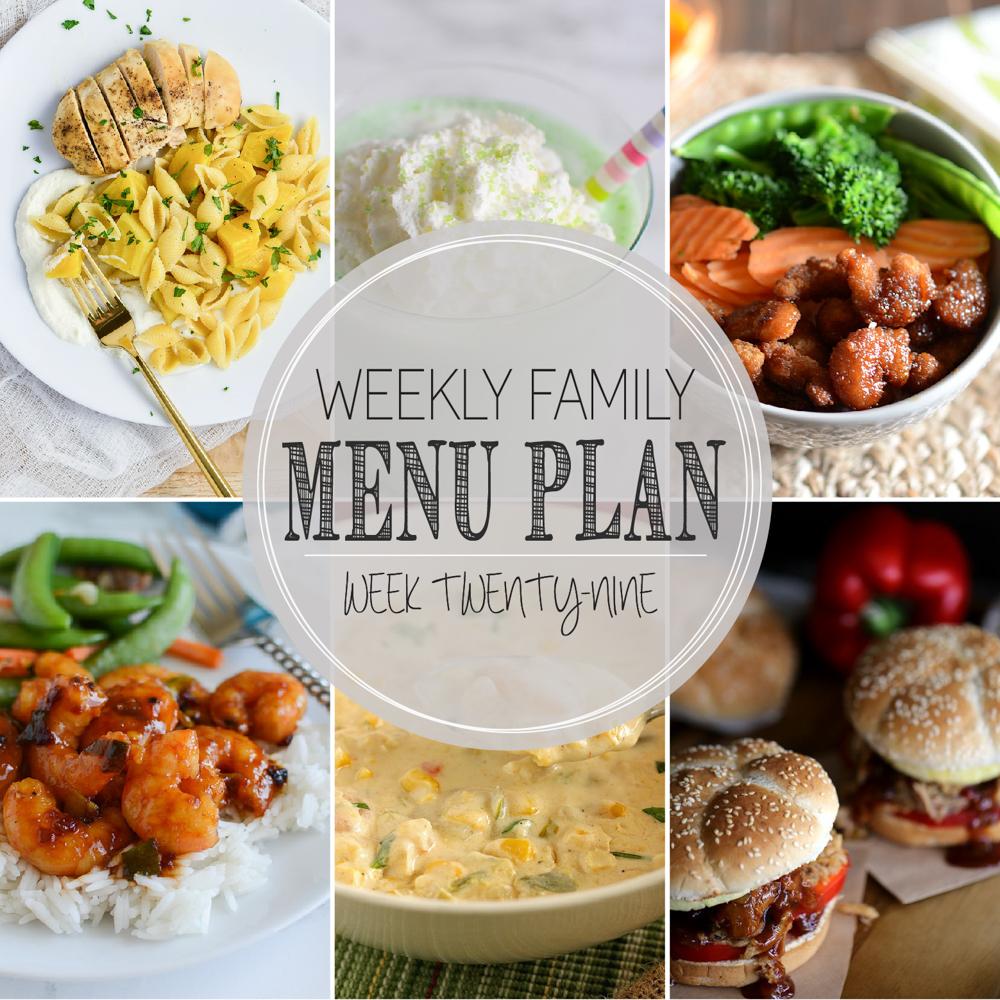 Weekly Family Menu Plan – Week Twenty-Nine