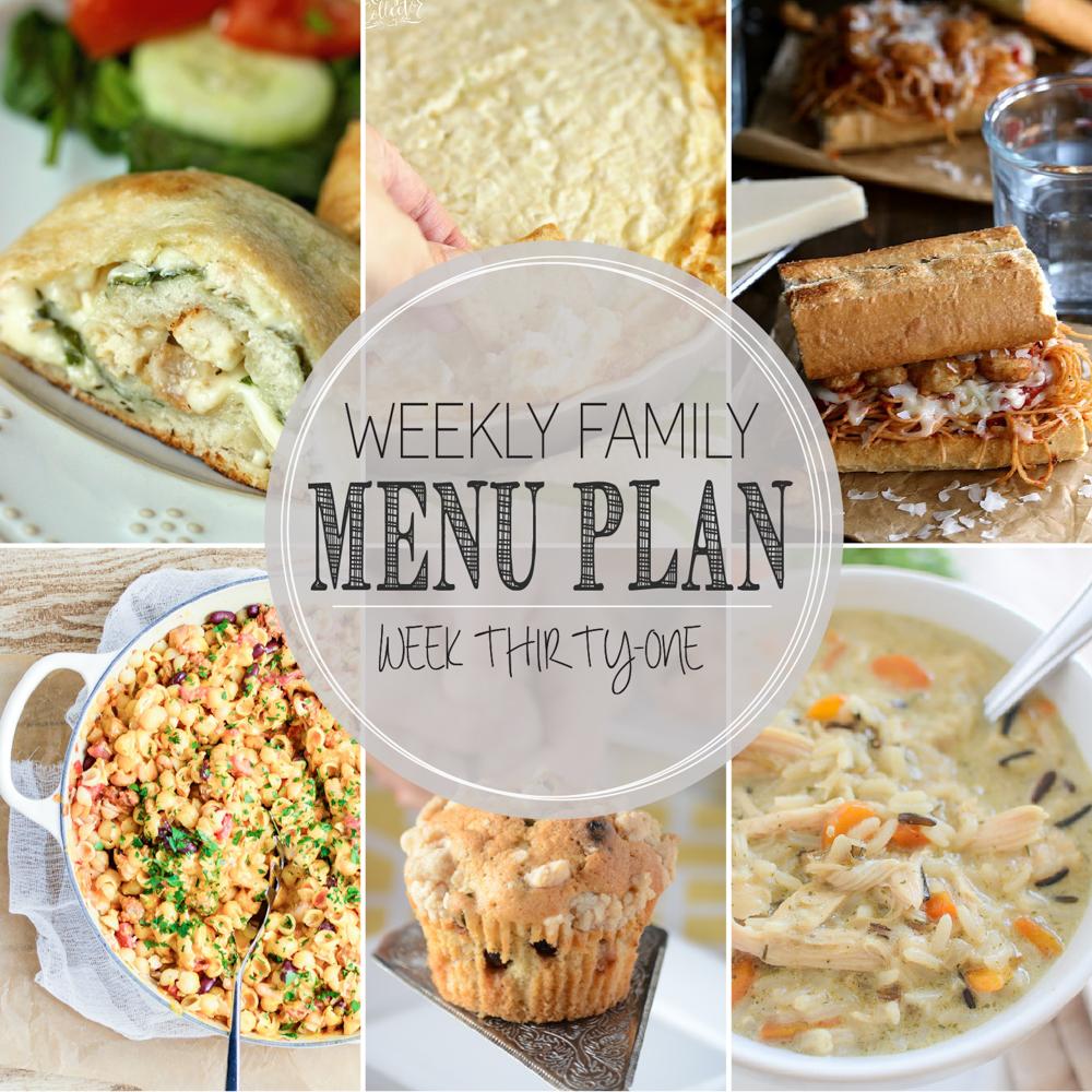 Weekly Family Menu Plan – Week Thirty-One