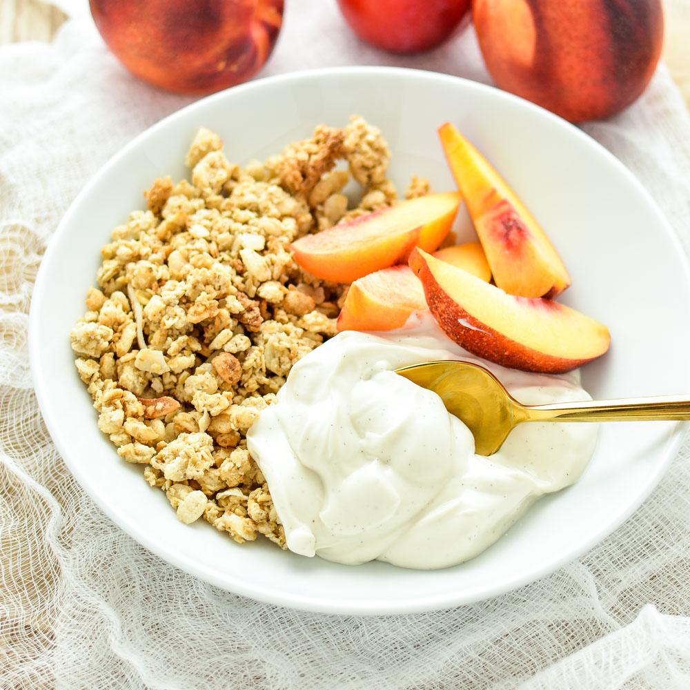 Homemade Vanilla Bean Yogurt and Stone Fruit Granola Bowls