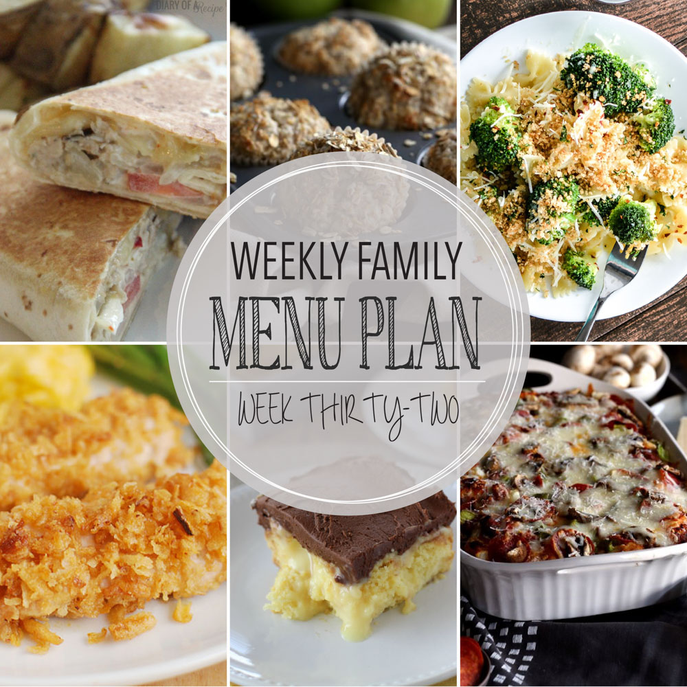 Weekly Family Menu Plan – Week Thirty-Two